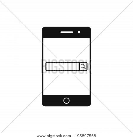 Mobile phone with browser window icon. Search field in smartphone monitor. Vector.
