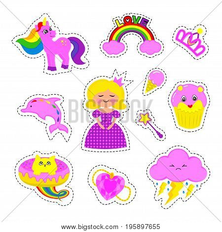 Fashion patch badges with princess crown pony unicorn ice cream cats kitten rainbow Dolphin Cloud and other. Very large set of girlish and boyish stickers patches in cartoon isolated