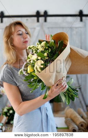 Photo of florist in apron