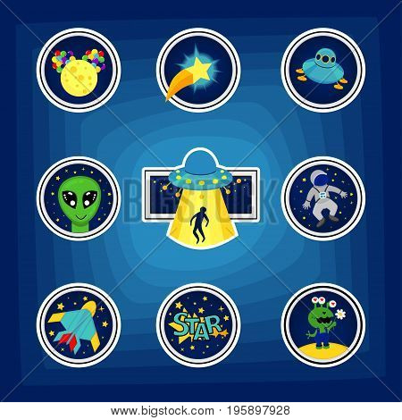 Fashion patch badges with star aircraft astronaut ufo rocket and other. Very large set of girlish and boyish stickers patches in cartoon isolated.Trendy print for backpacks things clothes