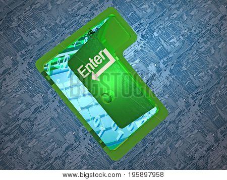 Door as key to digital world 3D illustration.