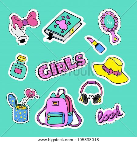 Fashion patch badges with book bow journal bonnet pomade hearts and other. Very large set of girlish and boyish stickers patches in cartoon isolated.Trendy print for backpacks things clothes