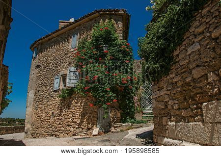 View of typical stone houses with sunny blue sky and flowers, in an alley of the historical village of Ménerbes. In the Vaucluse department, Provence-Alpes-Côte d'Azur region, southeastern France