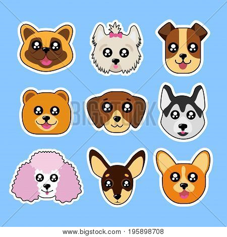 Fashion patch badges with corgi, husky, dog, poodle, boxer, bulldog and other. Very large set of girlish and boyish stickers, patches in cartoon isolated.Trendy print for backpacks, things,clothes