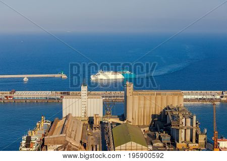 Aerial view of the seaport from the hill of Montjuic. Barcelona. Spain.