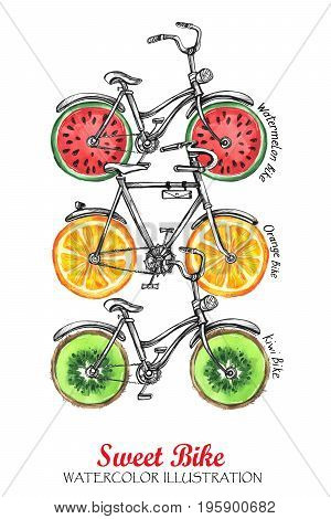 Watercolor bicycles with fresh fruits wheels. Colorful summer background. Original hand drawn illustration. Delicious food. Lifestyle and sport.