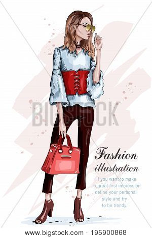 Cute stylish girl in fashion clothes. Fashion woman with bag. Hand drawn brunette woman. Sketch. Vector illustration.