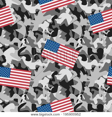 Abstract seamless pattern, monochrome camouflage with flags of the state.Military style. Creative vector background with dots, geometric figures.