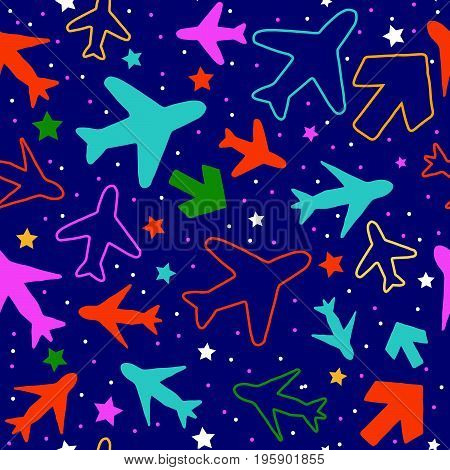 Kids seamless pattern with color planes arrows and stars..Hand drawn planes and arrows doodle style. .Simple background for decoration..Vector illustration.