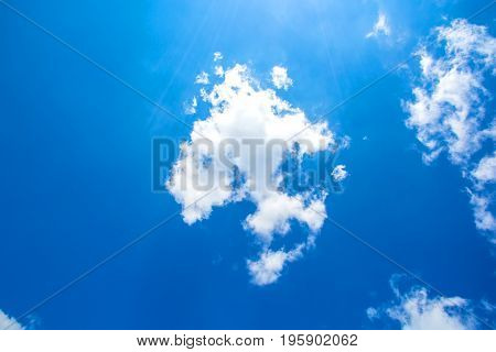 A blue sky background with light clouds.