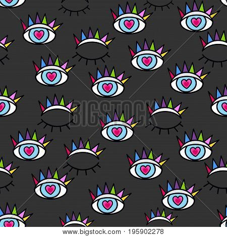 Pattern In The Style Of Psychedelic Eyes. Closed And Open Eye. Print For The Fabric Cover, The Book.