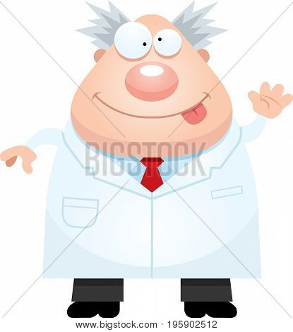 Cartoon Mad Scientist Waving