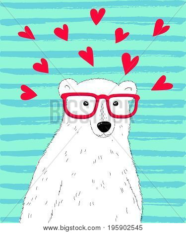 Hipster polar bear. Vector cute polar bear character with hearts. Valentine day card template.