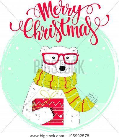 Christmas Card With A Nice Polar Bear