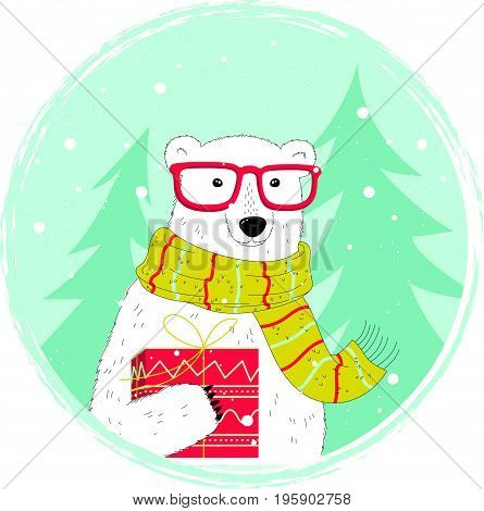 Happy Holidays Card With A Nice Polar Bear