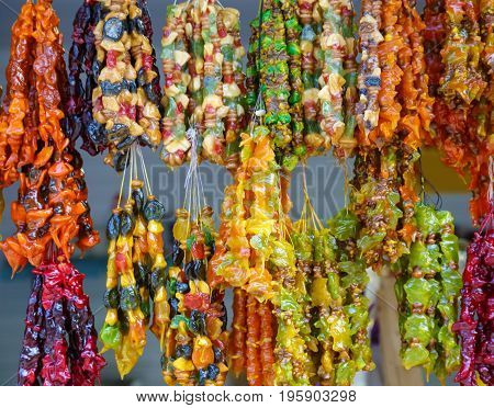 Many multi-colored healthy churchkhela is offering for sale