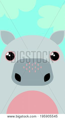 Vector illustration cartoon hippo. Cute hippo character.
