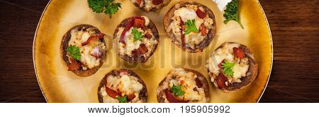Stuffed Mushrooms with Bacon, Cheese and Breadcrumbs. Selective focus.
