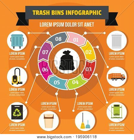 Trash bins infographic banner concept. Flat illustration of trash bins infographic vector poster concept for web