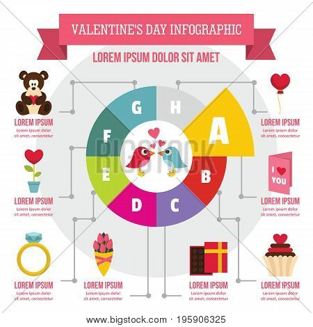 Valentine day infographic banner concept. Flat illustration of Valentine day infographic vector poster concept for web