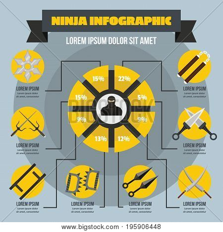 Ninja infographic banner concept. Flat illustration of ninja infographic vector poster concept for web