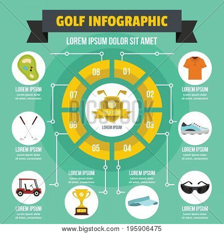 Golf infographic banner concept. Flat illustration of golf infographic vector poster concept for web
