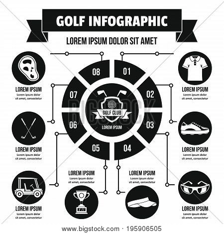 Golf infographic banner concept. Simple illustration of golf infographic vector poster concept for web
