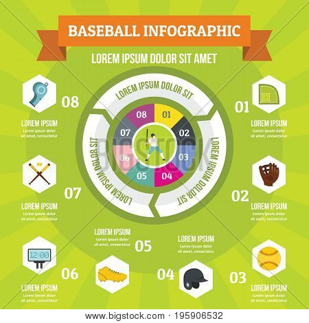 Baseball infographic banner concept. Flat illustration of baseball infographic vector poster concept for web