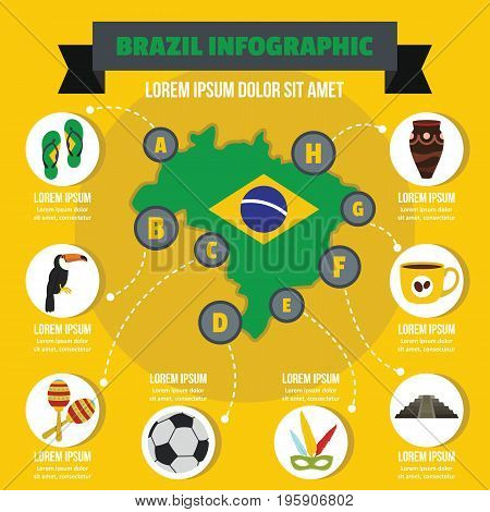 Brazil infographic banner concept. Flat illustration of Brazil infographic vector poster concept for web