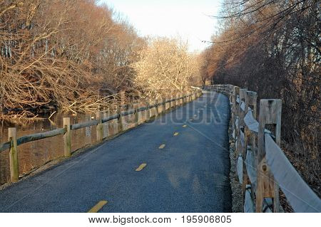 Blackstone River Bikeway curving along old barge canal