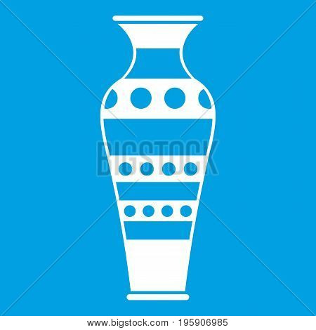 Egyptian vase icon white isolated on blue background vector illustration