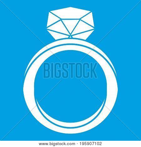 Wedding ring icon white isolated on blue background vector illustration
