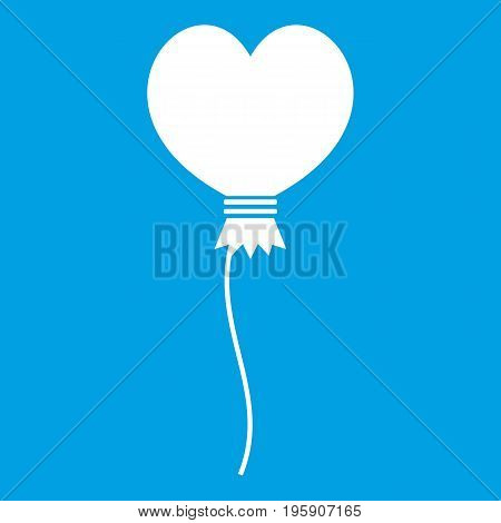 Balloon in the shape of heart icon white isolated on blue background vector illustration