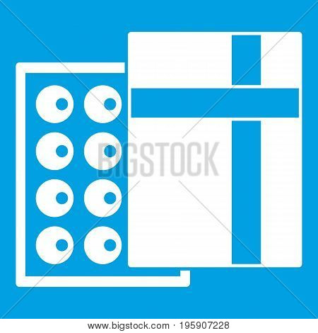 Box with chocolates icon white isolated on blue background vector illustration
