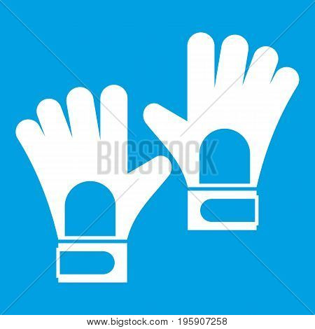 Gloves of goalkeeper icon white isolated on blue background vector illustration
