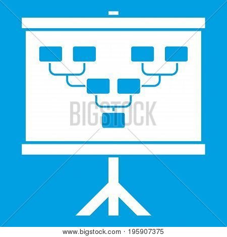 Soccer or football field scheme icon white isolated on blue background vector illustration