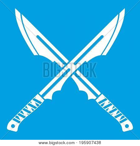 Japanese tanto daggers icon white isolated on blue background vector illustration