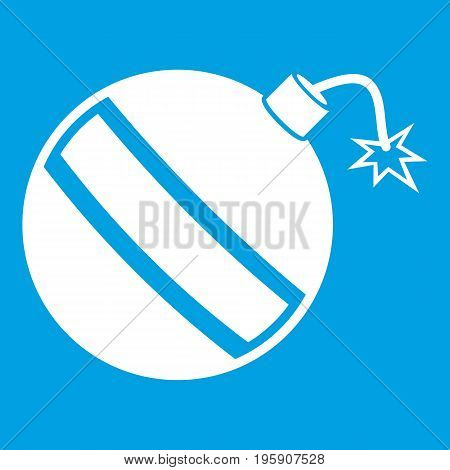 Bomb icon white isolated on blue background vector illustration