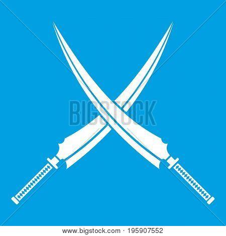 Samurai swords icon white isolated on blue background vector illustration