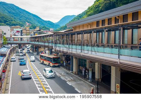 HAKONE, JAPAN - JULY 02, 2017: Hakone-Yumoto station which serves as the entry point into the Hakone mountain resort. The station featured in the anime and manga Neon Genesis Evangelion.