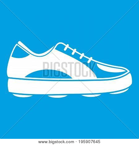 Golf shoe icon white isolated on blue background vector illustration