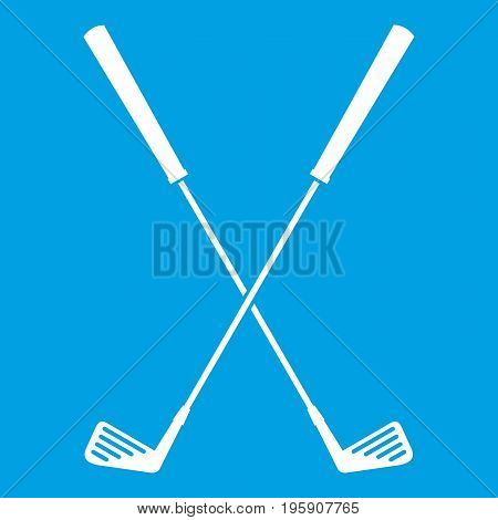 Two golf clubs icon white isolated on blue background vector illustration