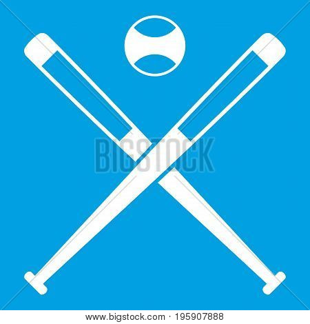 Crossed baseball bats and ball icon white isolated on blue background vector illustration