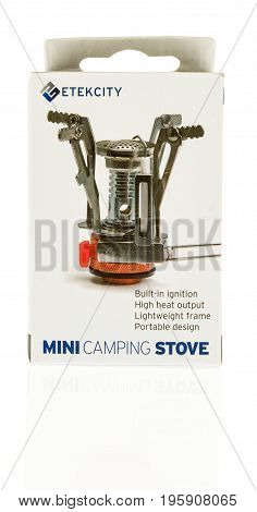 Winneconne WI - 12 July 2017: A Etekcity mini camping stove on an isolated background.