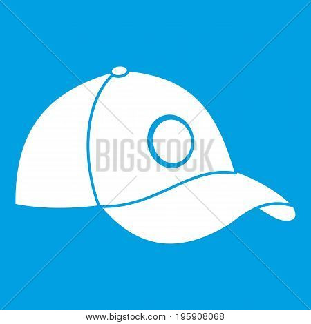 Cap icon white isolated on blue background vector illustration