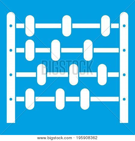 Children abacus icon white isolated on blue background vector illustration