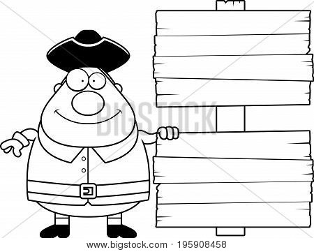 Cartoon Colonial Man Sign