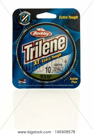 Winneconne WI - 16 July 2017: A package of Trilene fishing line on an isolated background.
