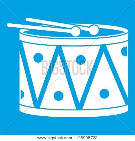 Drum and drumsticks icon white isolated on blue background vector illustration