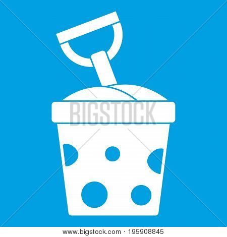Toy bucket and shovel icon white isolated on blue background vector illustration